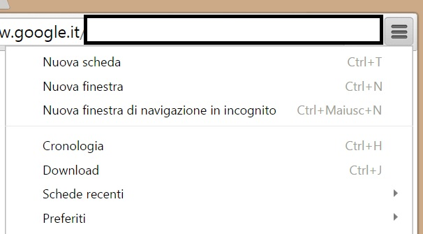 Menù Google Chrome